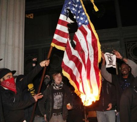 stolen flag burning